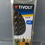 Tivoly 5 piece masonry drill set in case.